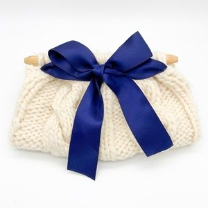 Cable Knit Clutch with Navy Satin Bow